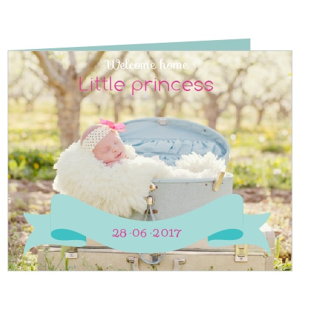 This super cute card is adorned with polka dots, and adorable banners. Everything you need to let you guests know about your little one's milestone.
