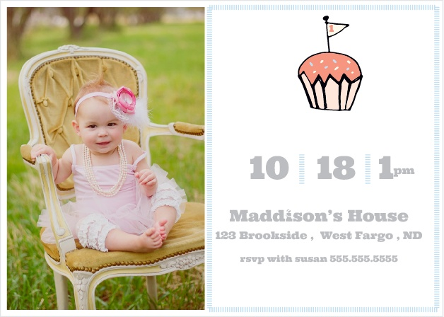 The Little Cupcake first birthday invitations offer a fun birthday vibe with a large cupcake front and center of the card and the date and time of the birthday right below.