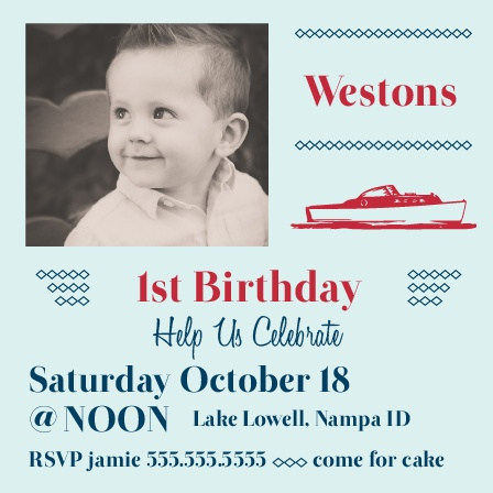 The Tiny Boat first birthday invitations are a unique way to introduce a nautical themed birthday party.