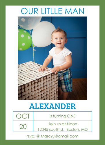 The Simple Outlines first birthday invitations are a simple design with a big photo of your baby in the center and all the important birthday details below.