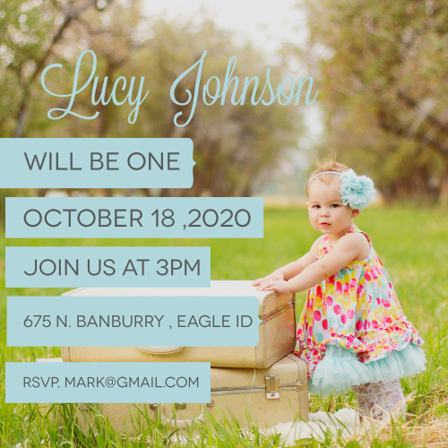 The Important Little Banners first birthday invitations are a simple square photo invitations with colored banners for each line of information.