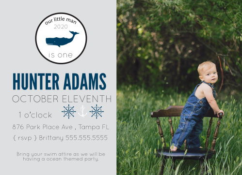 The Tiny Whale first birthday invitations is a fun nautical photo theme.
