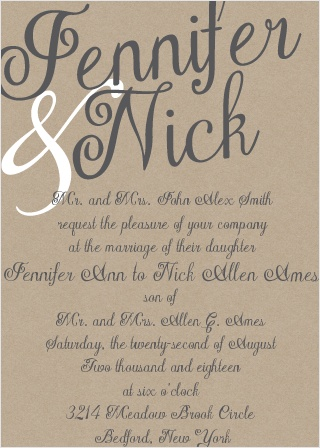 Have you seen this card? With its beautiful, minimal, printed kraft paper background; your guests wont be able to contain their excitement at the site of this super trendy invitation.
