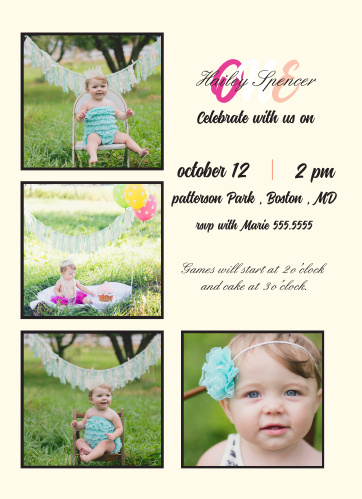 The Cutely Surrounded first birthday invitations surround your party details with photos of your baby.