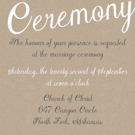 The Elegant Kraft ceremony card is just what you need to let your guests know all of the detials for the big da