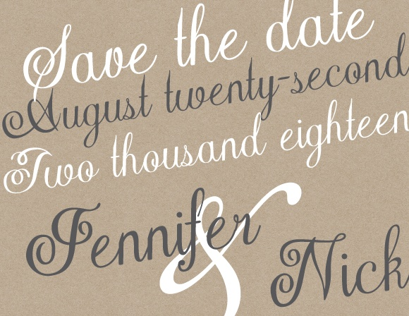 The Elegant Kraft save the date card has super cute text and a fun wreath. As always, you can change the colors and fonts in order to match your wedding scheme. Personalize the card and see your modifications instantly!