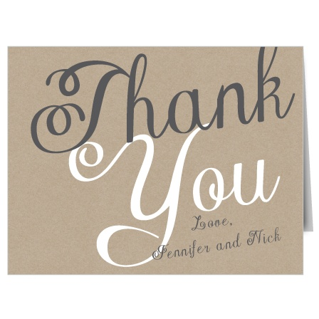 The Elegant Kraft is a stylish and bold thank you note that will help you say thank you to all your guests in a way that will reflect your taste and personality.