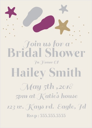 Stay classy with the Sandy Beaches Shower invitation. Change the colors, fonts and even the pattern, in order to make this invite stand out among all the rest!