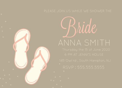 Stay classy with the Flip Flop Bridal Shower invitation. Change the colors, fonts and even the pattern, in order to make this invite stand out among all the rest!