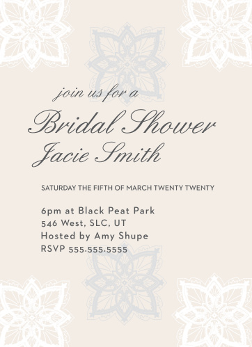 Stay classy with the Lace Snowflakes Shower invitation. Change the colors, fonts and even the pattern, in order to make this invite stand out among all the rest!