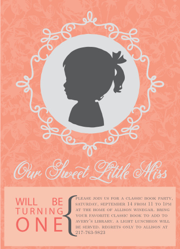 The Our Little Miss first birthday invitations are a simple design with a big photo of your baby in the center and all the important birthday details below.