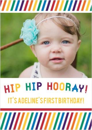 Hip Hip Hooray First Birthday Invitations