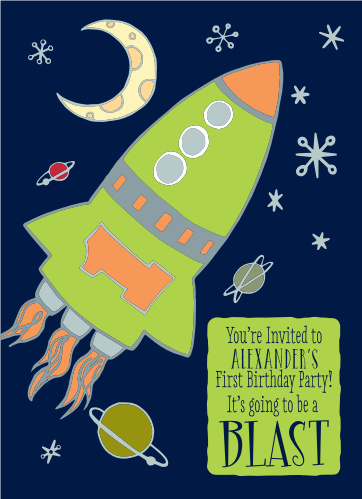 The Space First Birthday Invitations are sure to bring a smile to your guest's face.