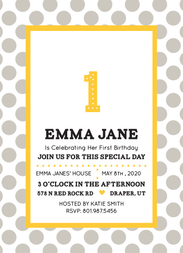 The Simple DotsFirst Birthday Invitations are sure to bring a smile to your guest's face.