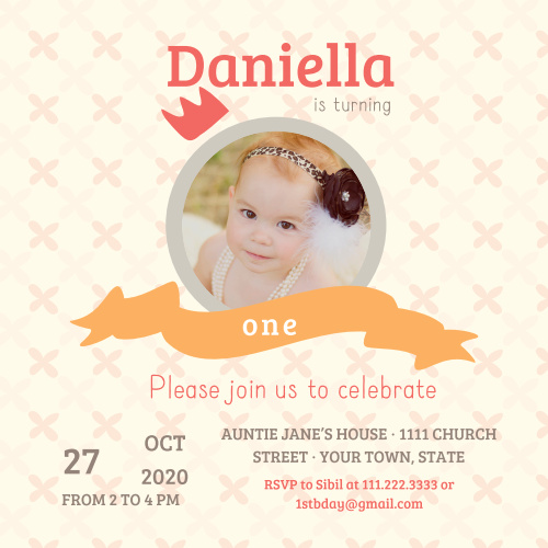 The Little Princess first birthday invitations are a simple square photo invitations with colored banners for each line of information.