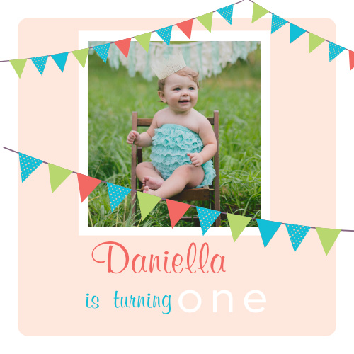 The Birthday Banner first birthday invitations are a simple square photo invitations with colored banners for each line of information.