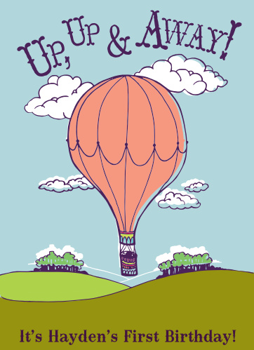 The Up Up and Away First Birthday Invitations are sure to bring a smile to your guest's face.