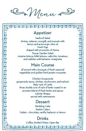 Wedding menus design your menu instantly online basic invite the modern moroccan wedding menu junglespirit Images