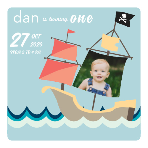 This Pirate Ship birthday inviation is the perfect way to get your guests excited to celebrate your little ones first birthday!