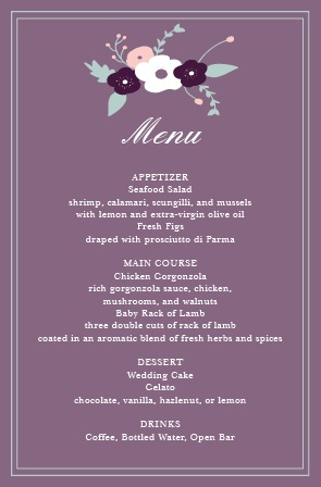 Impress your guests with the simple yet elegant and bold look of The Fantastically Floral wedding menu.