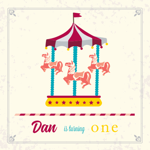 This Merry-Go-Round First Birthday Invitation is an adorable way to get your guests excited for your little one's first birthday! It's also 100% customizable. Choose from hundreds of colors and fonts to make it the perfect match.