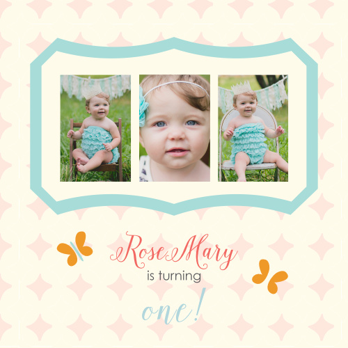 The Butterfly First Birthday Inviatation is a cute photo themed inviatation adorned by a girly pattern butterfly designs. It's the perfect invite for your sweet one year olds special day!