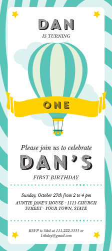 Hot Air Balloon first birthday invitations are great way to kick off your little one's special occasion. with stripes and a adorable whale it is sure to win the heart of your soon to be one year old.