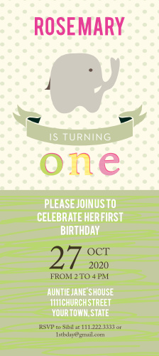Elephant Safari first birthday invitations are just what you've been looking for to help get your guests excited to celebrate your little one's first birthday!