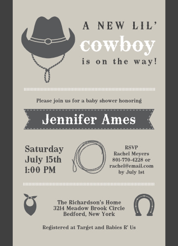 New Cowboy Baby Shower Invitations