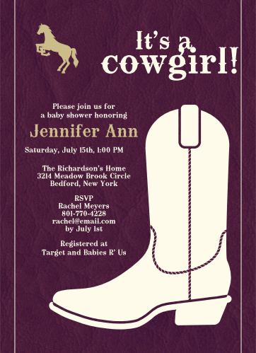 Cowgirl Boots Baby Shower Invitations
