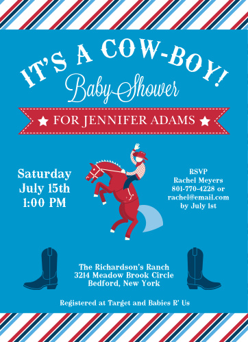 The Rodeo Cowboy baby shower invitations are perfect for the new buckaroo that is soon to join the family.