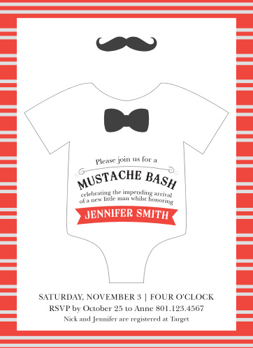 Mustache Bash Baby Shower Invitations