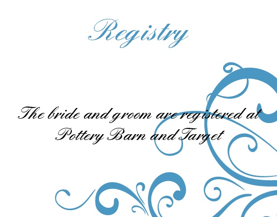One size fits all registry card.
