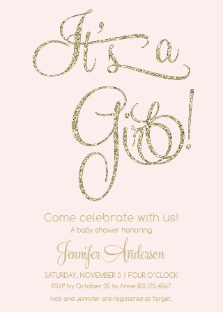The Glitter and Gold baby shower invitation is a fun combo of glitz and glam for any baby girl themed shower.