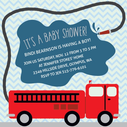 Fire Truck Baby Shower Invitations