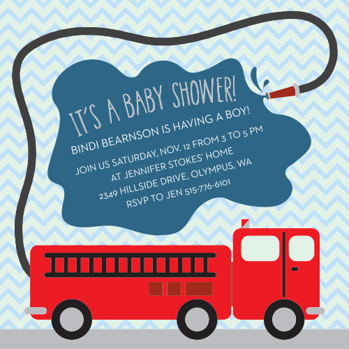 The Fire Truck baby shower invitation is the perfect design for a future firefighter.