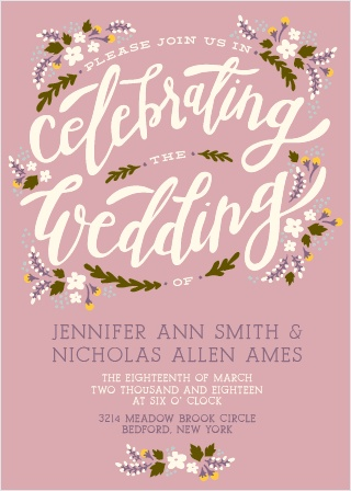 The Floral Celebration wedding invitations are the perfect fit for any spring or summer wedding with the title of the card and flowers creating a beautiful wreath.