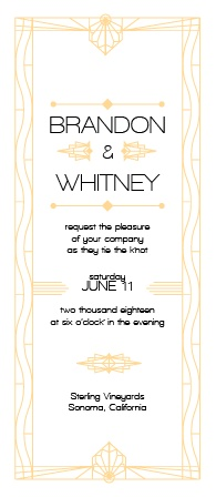 There's something unique about the this art deco inspired wedding invitation.