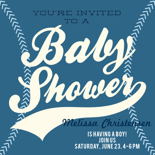 Little Baseball Player Baby Shower Invitations
