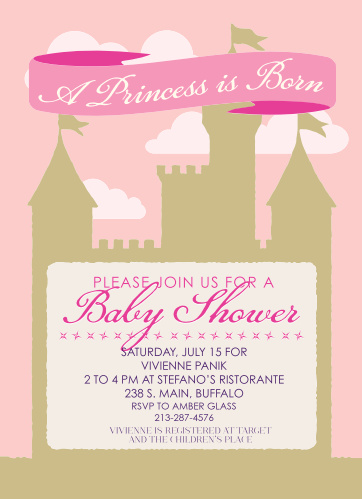 The Princess Castle baby shower invitations with its sandcastle background and colorful stars make it a one of a kind.