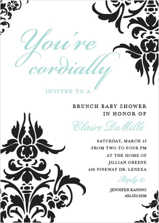The Decorative Damask baby shower invitations are the perfect mixture of elegance and grace.