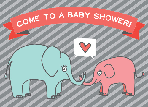 The Elephant Heart baby shower invitation is a cute double sided elephant themed invite.
