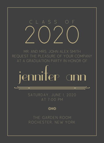 The Art Deco graduation announcement has a Great Gatsby look and feel that makes for a simple yet elegant look which is perfect for any new graduate.