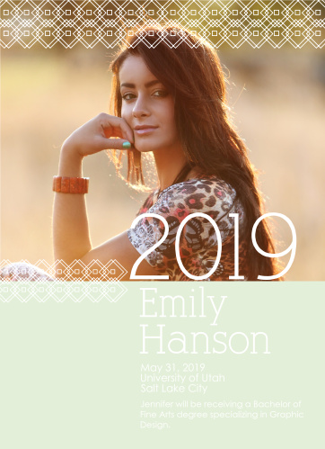 The Patterned Perfection graduation announcement lets you add your photo in between a stylish pattern with the graduation year big and bold to the right.