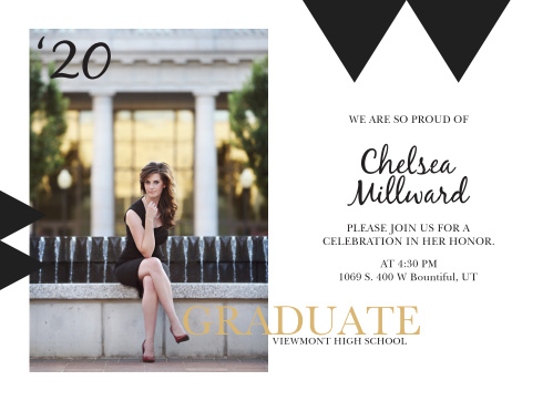 The Golden Graduate graduation announcement will make a great first impression with its graduate in big gold letters across the bottom and plenty of space to the left with a full photo.