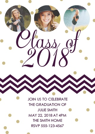 The Sparkling Grad graduation announcements is a unique style with customizable polka dot colors that can be change to match any graduate's style.