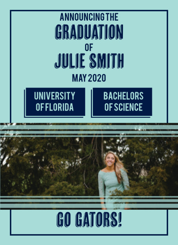 Announce your graduation as well as your degree with the Striped Success graduation announcements.