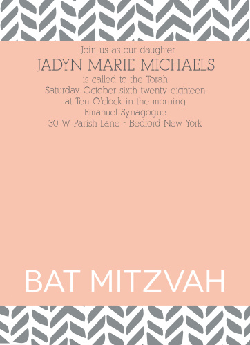 The Playful Pattern Bat Mitzvah invitations with its trendy pattern and large photo makes being unique easy.