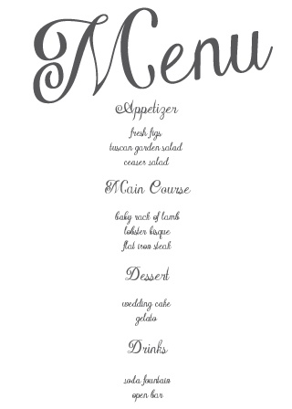The Plain Elegance wedding menu has plenty of room for all your important details. Make your fairy tail wedding complete with Plain Elegance menu.