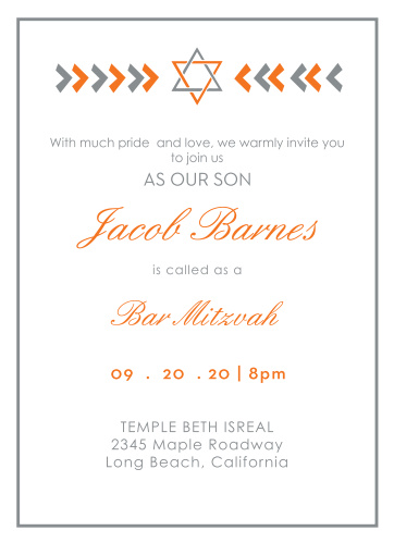 Bar mitzvah invitations match your colors style free basic invite arrows bar mitzvah invitations solutioingenieria Gallery